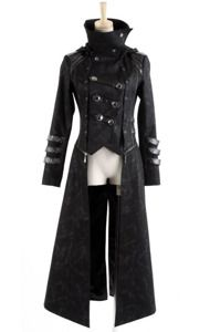 maybe for mad hatter or male rapper rave scene?  Gothic black Coat and Jacket 3 in 1   $85 PUNK RAVE Y-364, bottom long part comes off, and it has a ttachable hood.
