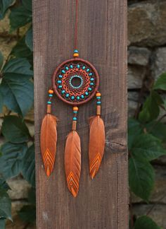 Small Dreamcatcher/ Brown Dream Catcher/Car dream catcher/ Car rear view mirror necklace/ Dream catcher gift