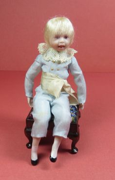 Collector Miniature 1:12 JANE DAVIES' 18th C Colonial Porcelain SittingBOY DOLL