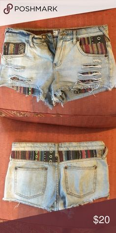 Free people jean shorts Used in great condition!! Size 27 light wash Free People Shorts