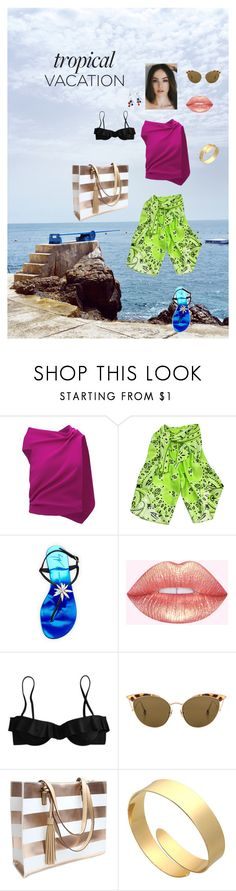 """""""Vacation from Fashion?  Never!"""" by quinz ❤ liked on Polyvore featuring Roland Mouret, Moschino, Giuseppe Zanotti, J.Crew and Ahlem"""