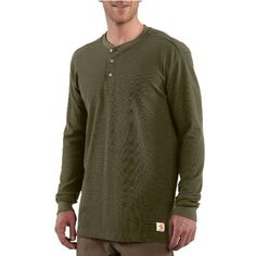 Carhartt Men's Textured Knit Henley, Army Green, « Impulse Clothes