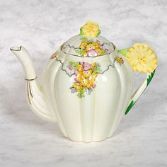 """Vintage Paragon """"May Time"""" floral handled teapot --so pretty!!"""