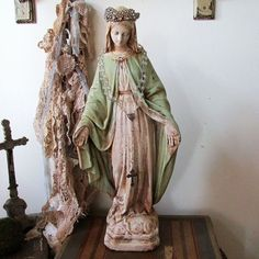 Painted Virgin Mary statue distressed soft shabby cottage chic religious figure rustic farmhouse Madonna home decor anita spero design