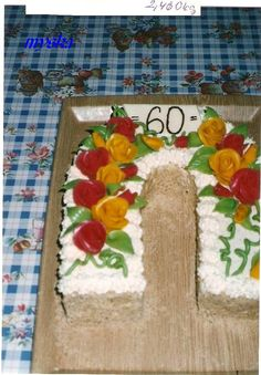 k 60. narozeninám červené a žluté růže Cake, Desserts, Home Decor, Tailgate Desserts, Deserts, Decoration Home, Room Decor, Kuchen, Postres