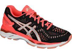 Asics Women's GEL-Kayano 23 Running Shoe, Size: 6.5, Black/Silver/Flash  Coral