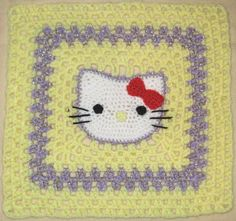 Hello Kitty crochet granny square! // I can make this when I learn to crochet. Ha!
