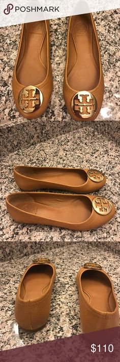 Tory Burch Reva Ballet Flats Leather Gold Logo 8 Tory Burch Reva Ballet  Flats Tan Leather