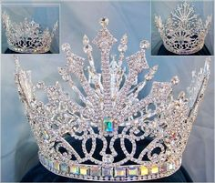 Helena Royal Rhinestone Crown A very beautiful, elegant, royal crown fit for a… Glitz Pageant, Pageant Crowns, Beauty Pageant, Royal Crowns, Crown Royal, Tiaras And Crowns, Bridal Crown, Bridal Tiara, Glamouröse Outfits