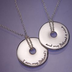 I Am My Beloveds Quote Pendant Necklace - silver