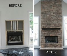 This brand new home had a fireplace that was finished in drywall and lacked the focal point that the home needed.  The floors were very dark and created a strong statement throughout the first floor. We created additional drama on the fireplace with our very textured ledge stone and no mortar joint. The spruce beam mantel was stained in a dark ebony to coordinate with the wood flooring.