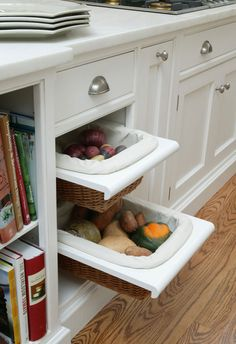 10 Clever Kitchen Storage Ideas You Haven't Thought Of | eatwell101.com Vegetable bins! YES!