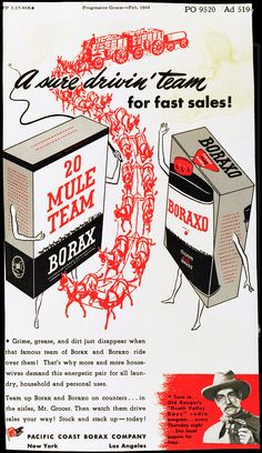 By the 1940's, 20 Mule Team #Borax was marketed primarily for its use in cleaning laundry, while #Boraxo was marketed as a hand soap.