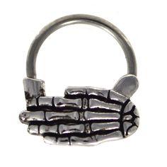 "BodyDazz.com - Wicked Skeleton Hand Septum Clicker 16G 3/8"" (http://www.bodydazz.com/wicked-skeleton-hand-septum-clicker-16g-3-8/)"