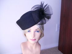 Black Pill box hat church hat funeral hat tea hat Kentucky derby hat. Tea Hats, Black Hats, Craft Sites, Pillbox Hat, Church Hats, Derby Hats, Kentucky Derby, Hats For Women, Funeral