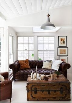 White wooden floor and worn in, buttony Chesterfield is a cool combo. Courtesy The Design Files, Andrea Millar & Family home shoot. Decor, Room Inspiration, Family Room, Brown Leather Sofa, Home And Living, Cozy House, Interior, Vintage Living Room, Room Decor