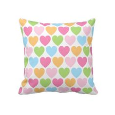 "Cute candy hearts girly custom pillow. Throw Pillow 20"" x 20""."
