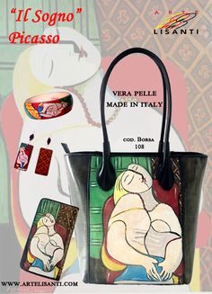 "Hand Painted on Black Bag and Wallet (Genuine Leather, Made in Italy). ""Author's fake copy"" line.""The Dream"" by Klimt. Super durable color.- Borsa dipinta a mano e Portafoglio, Linea Falsi d'Autore, ""Il Sogno "" di Picasso www.artelisanti.com"