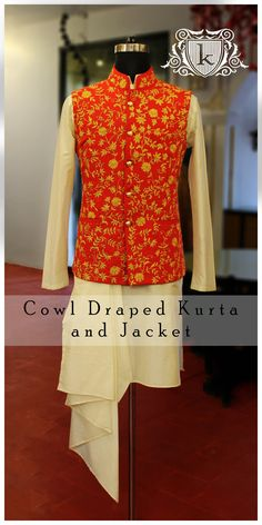 Tradtional Wear Designer Wear Embroidery Nehru Jacket Sangeet Outfit Asian Wear Fall201718 Latest Design Latest Kurta Draped Kurta Cowl Draped Kurta Linen Jacket Kataan Silk Kurta Designer Wear Ethnic Handwork  kayadesignerlounge kdllifestyle kaya Designer Lounge kdl Lifestyle Kurta Pajama Men, Kurta Men, Wedding Dresses Men Indian, Wedding Dress Men, Groom Outfit, Groom Dress, Designer Dress For Men, Indian Men Fashion, Mens Fashion