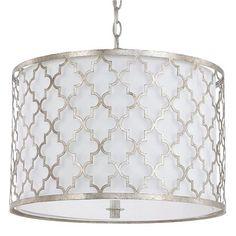"""Contempo Arabesque Convertible Drum Pendant Moroccan architectural details inspire the styling of the Contemporary Arabesque Collection. An Antique Silver or Brushed Gold arabesque metal cage surrounds a crisp white fabric shade delivering clean and simple but interesting lines adding soft sophistication to your home. The frosted glass diffuser provides soft ambient lighting. Includes semi-flush option hardware. (14""""Hx18.25""""W) 3x60 watts medium base, Contempo Arabesque Convertible Drum…"""