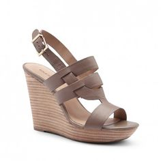 Sole Society Sandals - Leather platform wedgess - Jenny - Night Taupe