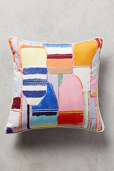 Southport Embroidered Pillow - anthropologie - $49.95