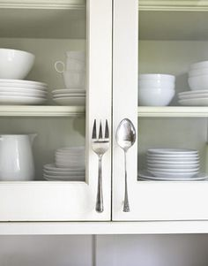 Cheap Craft Ideas - Inexpensive Crafts - Country Living: Fork and Spoon Door Pulls Cabinet Handles, Cabinet Hardware, Door Handles, Kitchen Handles, Kitchen Hardware, Pull Handles, Door Knobs, Kitchen Pulls, Diy Kitchen