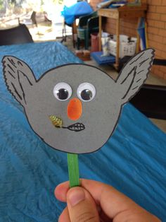 Aussie animal faces on paddle pop sticks, for the after school program