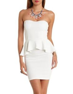 textured strapless peplum dress