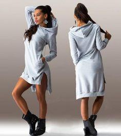 Asymetryczna sukienka dresowa. Trzy kolory
