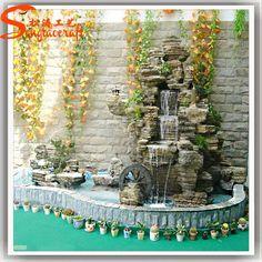 Guangzhou artificial vidrio modernas rock fuentes con bomba cascada cascada del jardín estanque paisaje al aire libre cortina de agua-imagen-Productos de piedra para jardines-Identificación del producto:60228720931-spanish.alibaba.com