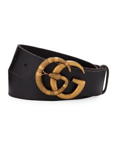 24f2b2c09 Gucci Men's Cuoio Toscano Snake GG Belt