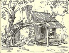 Adorable ranch house begging me to draw it! Line Drawing, Drawing Sketches, Painting & Drawing, Art Drawings, Pencil Drawings, Sketching, Sketch Art, Wood Burning Patterns, Wood Burning Art