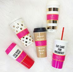 BACK IN STOCK! Kate Spade Thermal Mug -- Gold Stripes