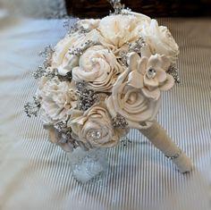 Handmade Wedding Bouquet Small- Ivory Silver Bridal Bouquet, Keepsake Bouquet, Shabby Chic Wedding, Rustic Wedding. $71.50, via Etsy.