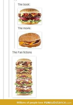 If fandoms were hamburgers. (though the book vs. movie part doesn't really work for some of mine, like Star Trek and Poke'mon, and also, I would have included fanart along with fanfiction. Still fun to look at. Katniss Everdeen, Fangirl Problems, Nerd Problems, Funny Memes, Hilarious, It's Funny, Funny Quotes, Fandoms Unite, Tumblr Stuff