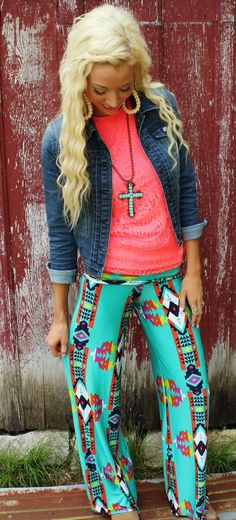 Turquoise and Multi Color Tribal Palazzos - The Lace Cactus