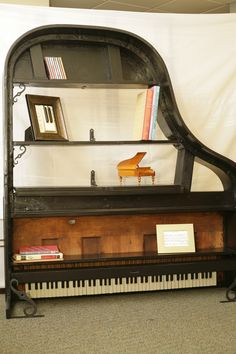 Upcycled Piano Bookcase made The Piano Gal Shop  http://thepianogalshop.com  Commission a project today!