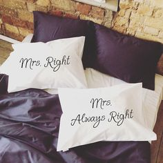 Personalized Gay Couples Pillow Cases, Mrs Right Mrs Always Right! (Set of 2) Very romantic, funny and interesting Valentines gift for your love or just amazing couple gift. Will decorate every bedroom and make it sweet, romantic and comfy with a little bit of fun! Great idea to say I Love You :) Probably one of the best gay anniversary, engagement or gift for gay wedding. Yours Mr and Mr will be happy to get that pillowcases. Made of 100% very soft organic cotton. All pillowcases made wi...