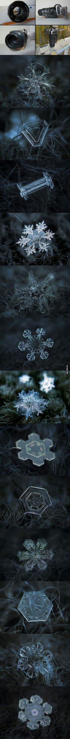 These amazing snowflake photographs were taken by Alexey Kljatov of Russia. This technique is so inexpensive that you can probably try it at home.