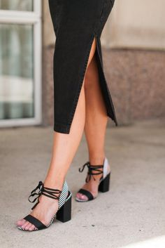 Shop This Look at Fitness & Frills Fashion Blog l Black Denim Midi with Slit lTie Up Sandals with Stripes