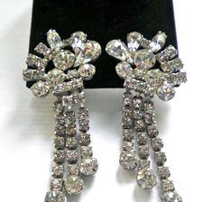 Vintage ICE Clear Rhinestone Earrings  D Juliana by JoolsForYou, $38.00