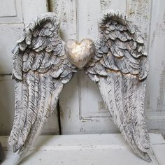 Angel wings wall hanging shabby chic white gray distressed French Santos inspired gold accented home decor anita spero