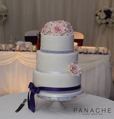 vintage wedding cakes roses pretty elegant purple weddingcakes London draped drop pearls lace sugar flowers