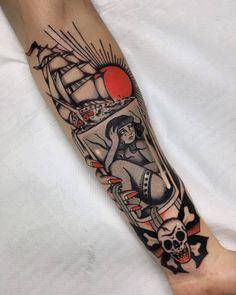 Old School Inspiration Dope Tattoos, Badass Tattoos, Body Art Tattoos, Hand Tattoos, Portrait Tattoos, Tatoos, Underarm Tattoo, Traditional Hand Tattoo, Cuff Tattoo