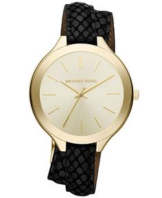 Michael Kors Women's Slim Runway Black Leather Double Strap 42mm MK2315 - Women's Watches - Jewelry & Watches - Macy's