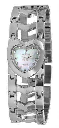 Peugeot Women's 7026S Silver-Tone Heart Case Bracelet Watch Peugeot. $59.50. Water-resistant to 99 feet (30 M). Mother of pearl dial. Free lifetime battery replacement. Limited lifetime warranty. Accurate Japanese quartz movement. Save 30% Off!