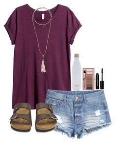 Burgundy top, denim shorts, grey Birkenstock sandals, long gold pendant necklace