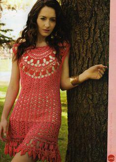Crochetemoda: Crochet - Vestido Rosa IV