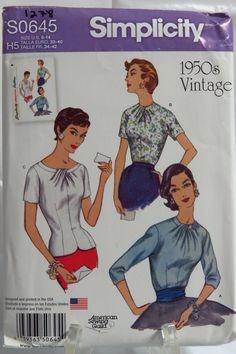 Simplicity 0645 Misses' Vintage 1950's Blouses